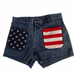 Urban Renewal Patriotic Denim Cut-Off Shorts